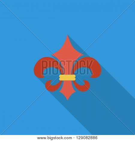Fleur icon icon. Flat vector related icon with long shadow for web and mobile applications. It can be used as - logo, pictogram, icon, infographic element. Vector Illustration.