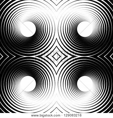 Symmetrical Repeatable Pattern With Concentric Circles, Rings.