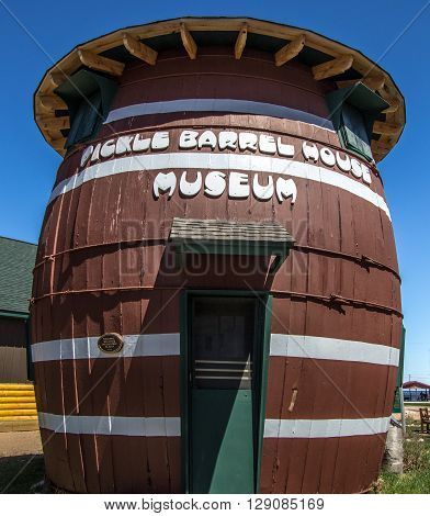 Grand Marais, Michigan, USA - May 7 , 2016: The Pickle Barrel House was the summer home of cartoonist William Donehy creator of the Teenie Weenies comic strip. The house has been restored and is currently a museum.