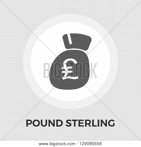 Pound sterling icon vector. Flat icon isolated on the white background. Editable EPS file. Vector illustration.