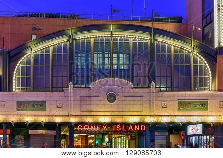 Brooklyn New York - March 26 2016: Coney Island subway station in New York City. It is the last stop on the BMT Lines and provides access to the beach.