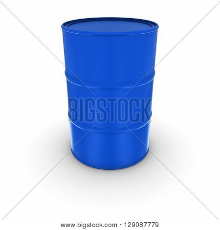 Plain Blue Oil Drum With Solid Sealed Lid Isolated 3D Illustration