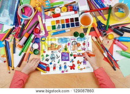 cartoon people happy lifestyle collection, child drawing, top view hands with pencil painting picture on paper, artwork workplace