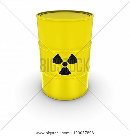 Isolated Yellow Radioactive Waste Barrel 3D Illustration