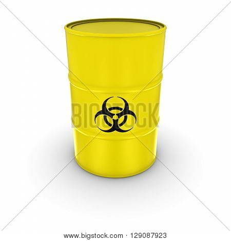 Isolated Yellow Biohazard Waste Barrel 3D Illustration