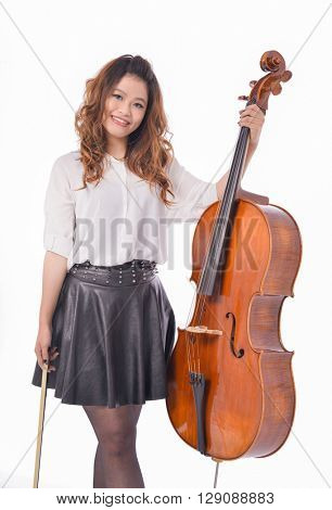 Portrait of young girl with big violin,