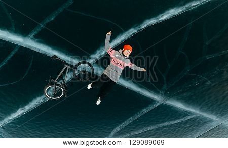 Bmx girl and lie on the starkly beautiful and dangerous ice.
