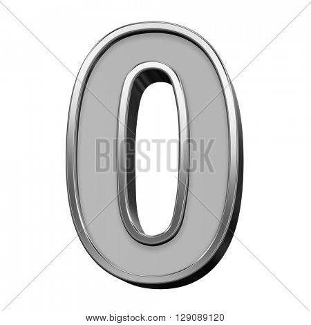 One digit from gray with silver frame alphabet set, isolated on white. 3D illustration.