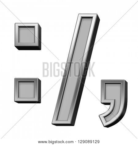 Colon, semicolon, period, comma sign from gray with silver frame alphabet set, isolated on white. 3D illustration.