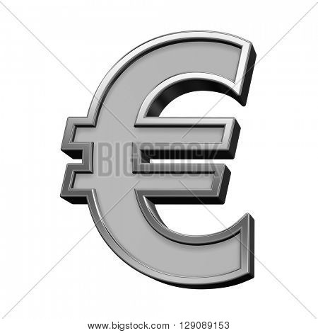 Euro sign from gray with silver frame alphabet set, isolated on white. 3D illustration.