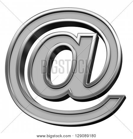 E-mail sign from gray with silver frame alphabet set, isolated on white. 3D illustration.