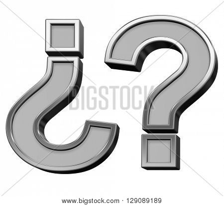 Question mark from gray with silver frame alphabet set, isolated on white. 3D illustration.