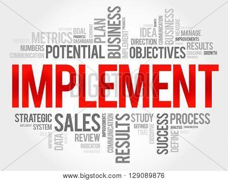 Implement word cloud business concept, presentation background