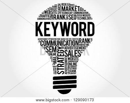 KEYWORD bulb word cloud business concept, presentation background poster