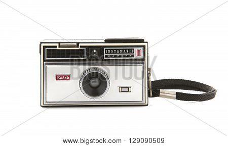 SWINDON UK - APRIL 10 2016: kodak instamatic 100 camera on a white background