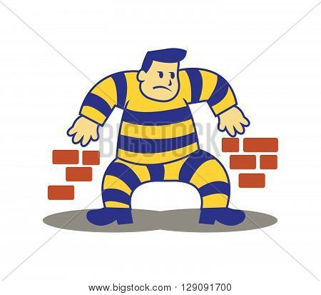 A vector illustration of escaping prisoner from the jail. Sneaking along the wall.