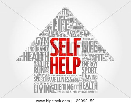 Self Help arrow word cloud health concept, presentation background
