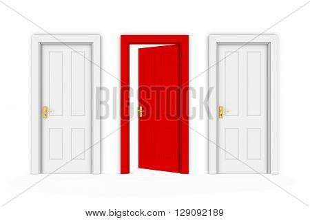 Half Open Red Door in Line of White Doors - Isolated on White 3D Illustration