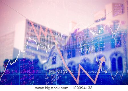 Stocks and shares against low angle view of city buildings on sunny day