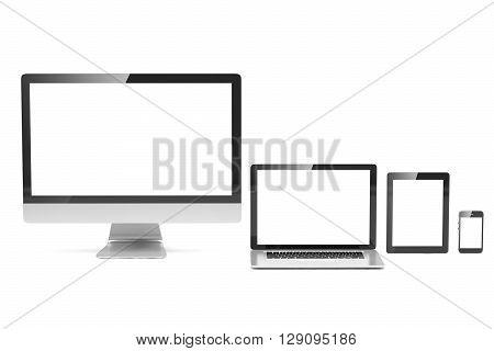 Ultimate web design, laptop, smartphone, tablet, computer, display. 3d rendering.