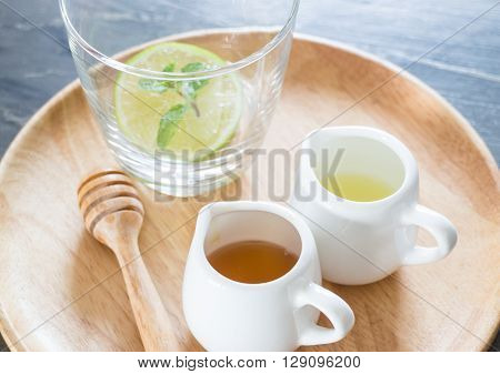 Cup of honey lime healthy drink, stock photo
