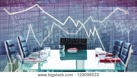 Composite image of boardroom on a modern background