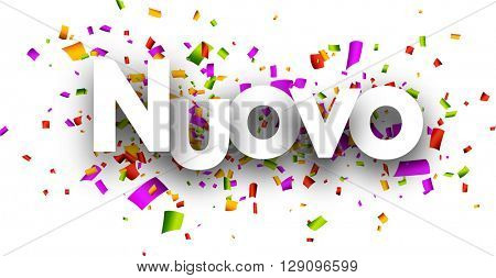 New paper banner with color confetti, Italian. Vector illustration.