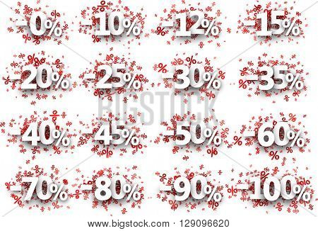 Discount signs paper set with numbers and percent. Vector illustration.