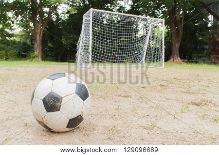 A football and soccer goal tree background .