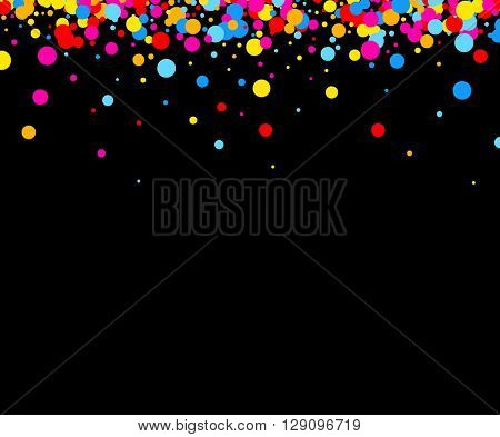 Black paper background with color drops. Vector illustration.