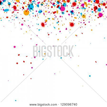 Festive paper background with color confetti. Vector illustration.