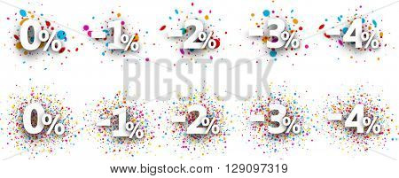 Paper discount set with numbers and percent. Vector illustration.