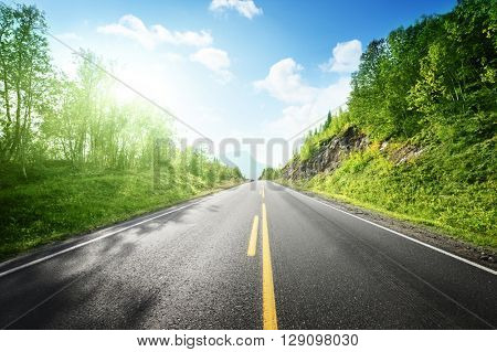 summer road in mountain,  Norway