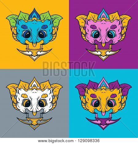 Owl mask. T-shirt print. Owl mascot set