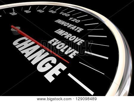Change Innovate Improve Involve Speedometer 3d Illustration