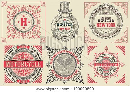 Set of Baroque cards/logos with floral details. Elements organized by layers. poster