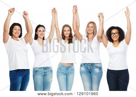 friendship, diverse, body positive and people concept - group of happy different size women in white t-shirts holding hands up