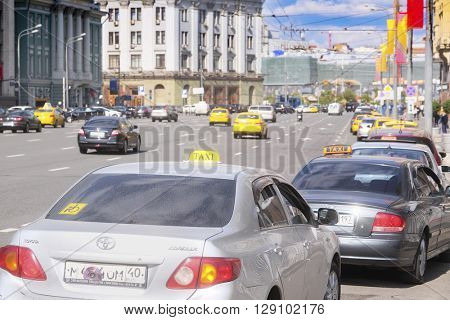 Moscow, Russia - May, 6, 2016: view of Ohotniy riad - the street in a center of  Moscow, Russia