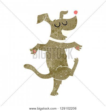 freehand retro cartoon dancing dog
