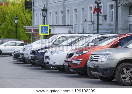 Moscow, Russia - May, 6, 2016: cars on a parking in a center of Moscow, Russia