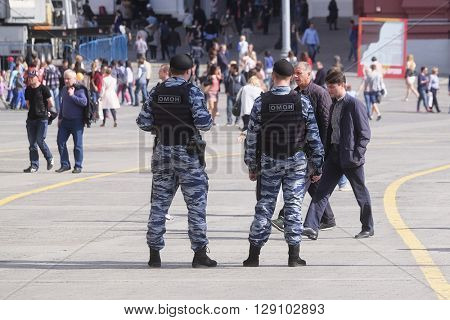Moscow, Russia - May, 6, 2016: police men in a center of Moscow, Russia