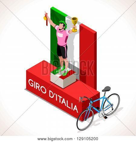 Giro Italia racing winning cyclist. Vector cyclist icon. Cyclist icons. Flat 3D isometric people set of vector cyclist icons. Isometric bicycle group