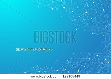 Geometric graphic background molecule and communication. Connected lines with dots. Concept of the science, chemistry, biology, medicine, technology. Vector illustration.