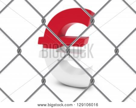 Monaco Flag Euro Symbol Behind Chain Link Fence With Depth Of Field - 3D Illustration
