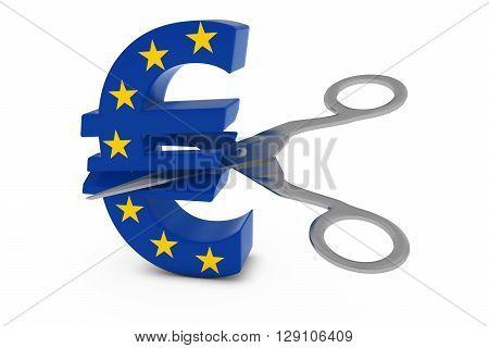 Europe Price Cut/deflation Concept - Eu Flag Euro Symbol Cut In Half With Scissors - 3d Illustration