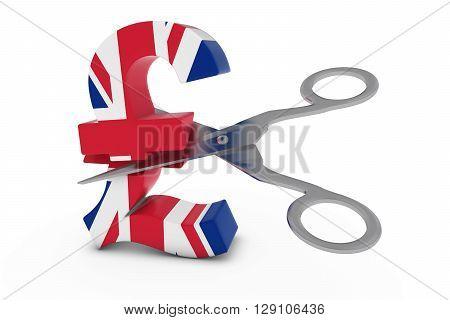 Uk Price Cut/deflation Concept - British Flag Pound Symbol Cut In Half With Scissors - 3D Illustrati