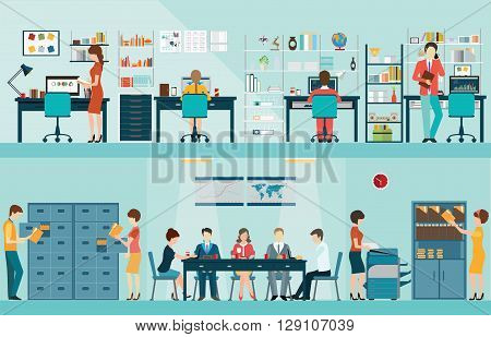 Office people with office desk and Business meeting or teamwork brainstorming in flat style vector illustration.