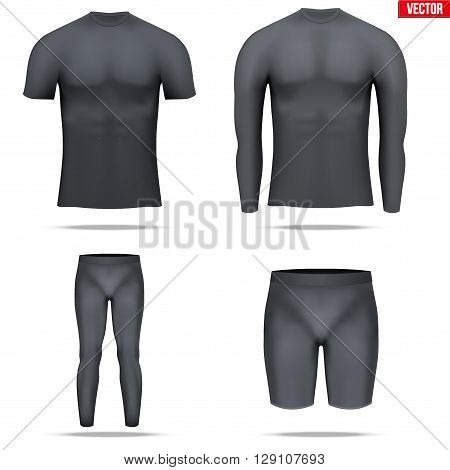 Set of Black Base layer compression shirt with long and short sleeve. Shorts and pants. Sample typical technical illustration.  Vector Illustration isolated on white background