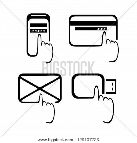 Icons mobile phone USB flash drive an envelope a bank card.