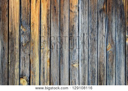 Old shabby wooden planks in warm and cool colors
